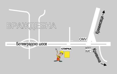 """Карта - Строителна борса """"Партньори"""" - склад 2"""